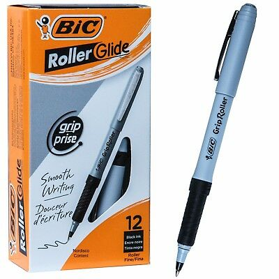 Bic Grip Roller Glide Gre11 31203 Black Ink 0.7mm Fine Point Box Of 12 Pens