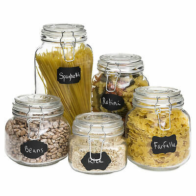 BCP Set of 5 Glass Mason Jars w/ Clip-Top, 10 Stickers, Chalk -