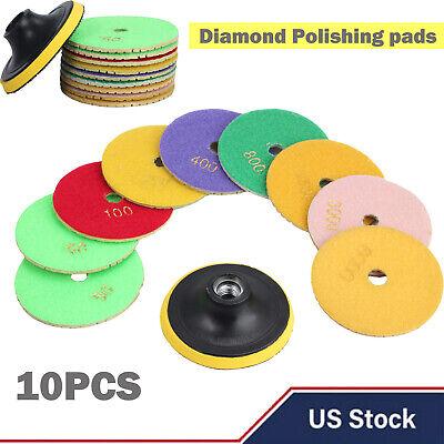 10pcs Wet Dry Diamond Polishing Pads 4 Inch Set Kit For Marble Concrete Granite