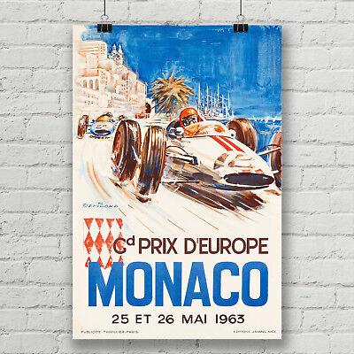 - Monaco Grand Prix Vintage Car Racing Art Poster Canvas Print Ferrari Formula One