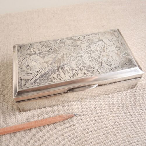Japanese 950 Silver Jewelry Box Engraved Birds Sterling Vtg Cigarette Flowers