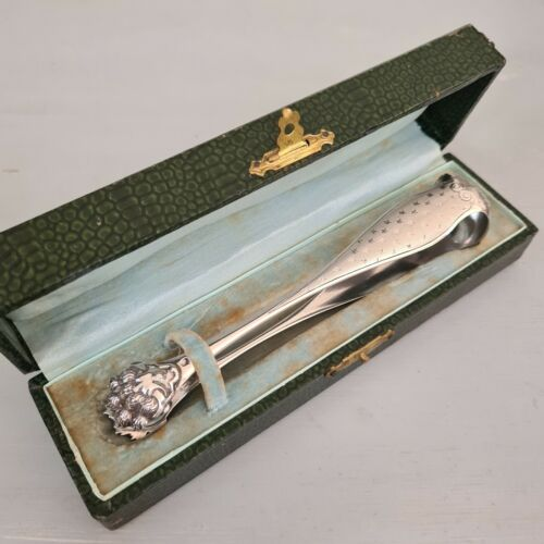 Antique 19thc. French Sterling Silver Sugar Tongs by Phillipe Berthier - Boxed