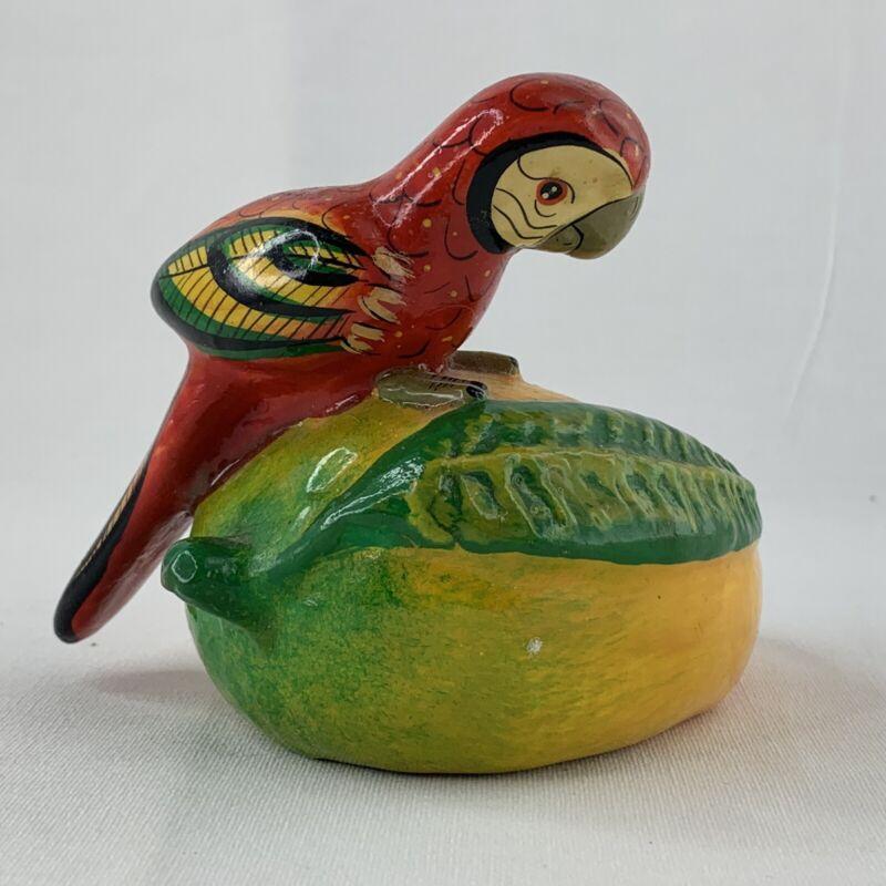 Macaw Parrot on Mango Mexico Tourist Souvenir Scarlet Red Bird