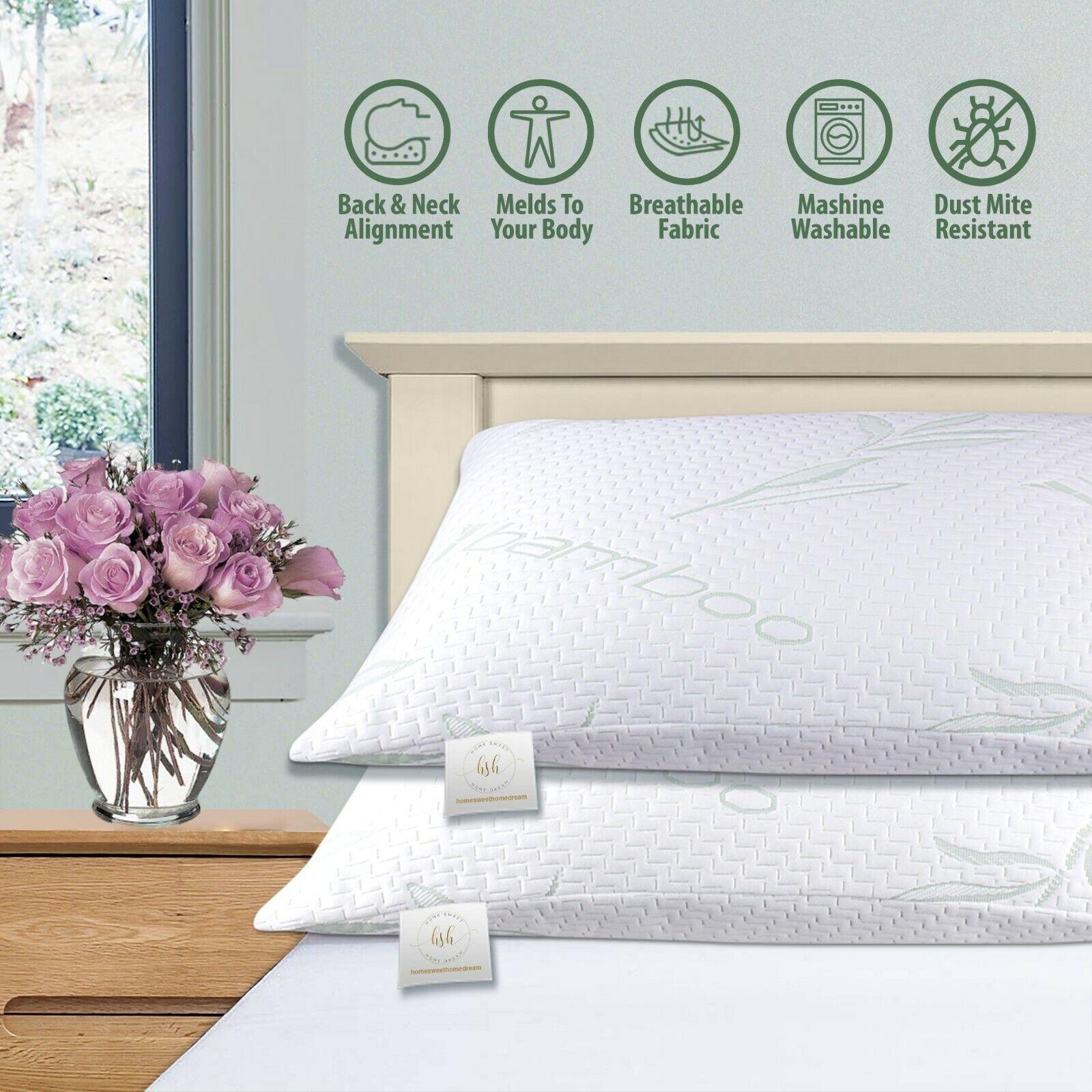 2 Pack Bamboo Shredded Memory-Foam Hypoallergenic Pain Relie