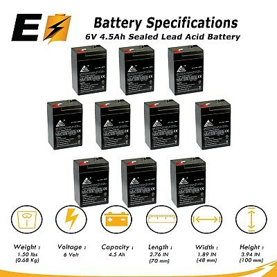 Power-Sonic Replacement 10 Pack 6V 4.5AH SLA Battery for
