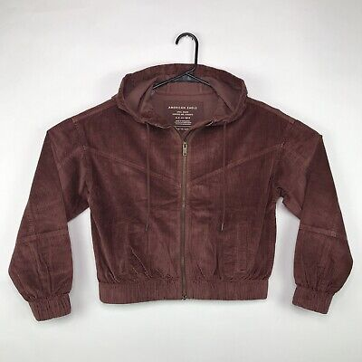 American Eagle Corduroy Bomber Jacket Women's Size Small Brown Zip Up Hooded