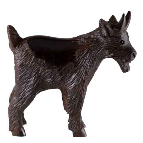 """Hand Carved Wood Wooden Ironwood Goat Figurine 5.25"""" High Made In USA"""
