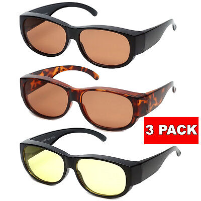 3 PAIRS HD NIGHT or DAY TIME BLUE BLOCKER Sunglasses Cover Over Driving (Night Time Sunglasses)