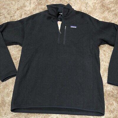 Patagonia Men's Better Sweater 1/4 Zip Fleece Pullover, Solid Black - Size