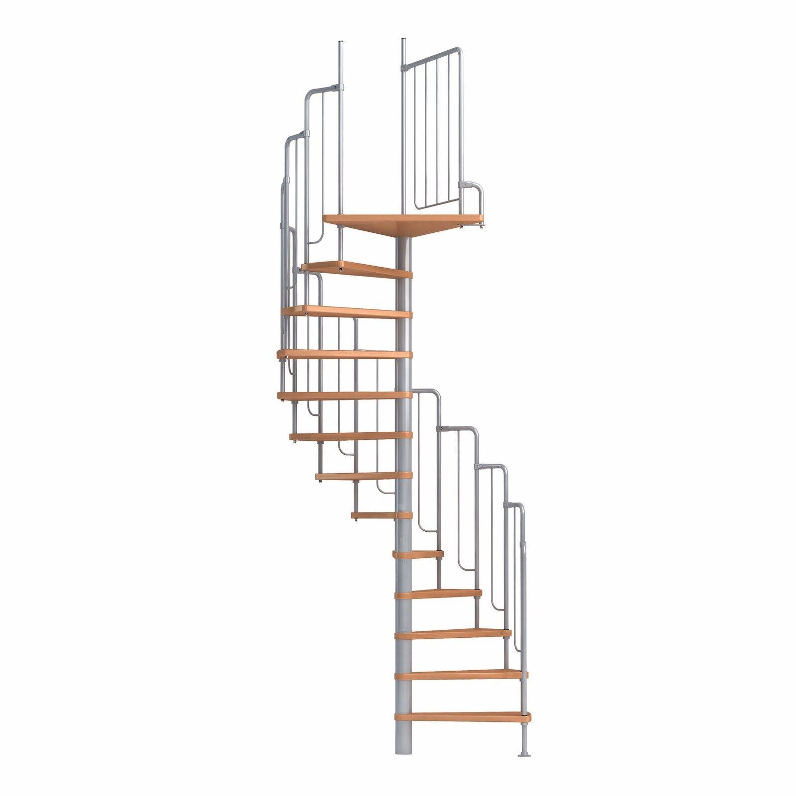 Spindeltreppe Wendeltreppe DOLLE Barcelona, 229-291 cm, Buche/Metall (weiß/grau)