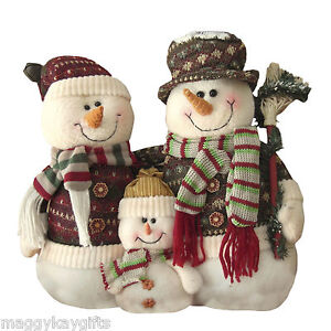 Plush-SNOWMAN-or-SANTA-Christmas-Family-Tabletop-Decoration-30cm-12-Height