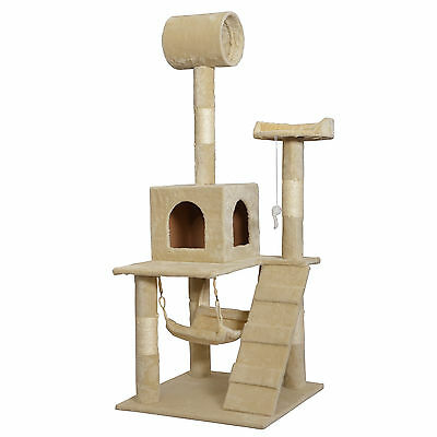"Beige 55"" Cat Tree Tower Condo Scratcher Furniture Kitten House Hammock 90"