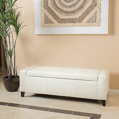 Contemporary Off-White Leather Storage Ottoman Bench