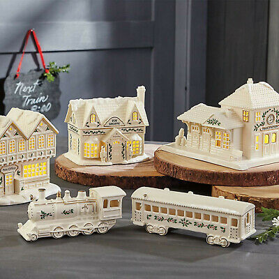 Lenox Christmas Village Train Engine and Passenger Car Holiday Figurine -