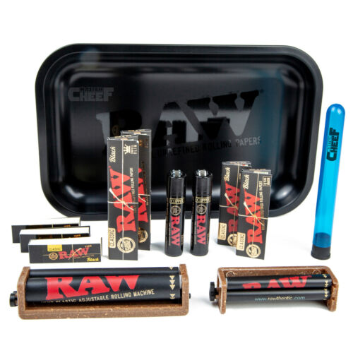 AUTHENTIC RAW Murder'd Black-on-Black Rolling Tray 13pc Variety Smoker Bundle