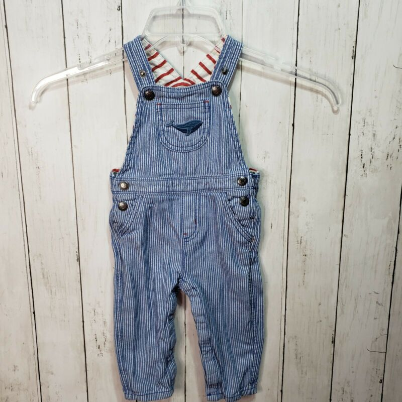 Baby Boden Railroad Stripe Overalls Whale Embroidered Pocket Size 6-12 Months
