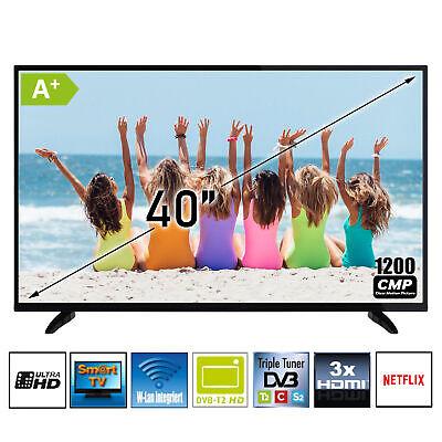 "TV Fernseher 40"" Zoll 4K UHD LED DVB-T2-C-S2 Triple Tuner HDMI WLAN Netflix NEU"