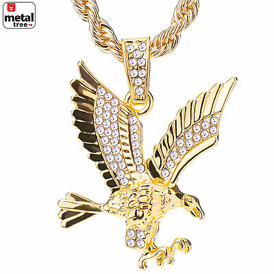 Men's 14k Gold Plated Iced Out Eagle Pendant 24