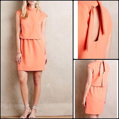 Anthropologie HOSS Intropia Jonie Neon Tiered Dress Open Back Bow Size 38 UK 10