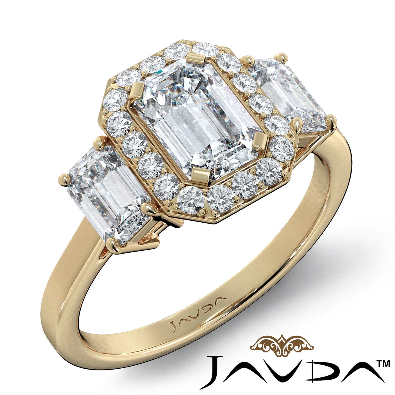 1.55ctw 3 Stone Halo Pave Emerald Diamond Engagement Ring GIA F-SI2 White Gold 8