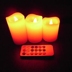 3* LED 12 Color Change Scented Candles Home Holiday Christmas Weeding Decor New