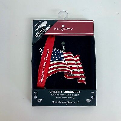 Harvey Lewis Christmas Ornament American Flag Support our Troops - Patriotic Christmas Ornaments