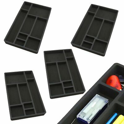 4 Desk Drawer Organizers Insert Black Home Or Office 8 Slot 19.9 X 12.1 New
