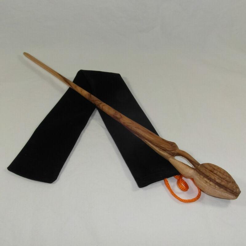 "16"" Shacklebolt Hand Carved Mahogany Wood Magic Wand Wizard w/ Free Velvet Bag"
