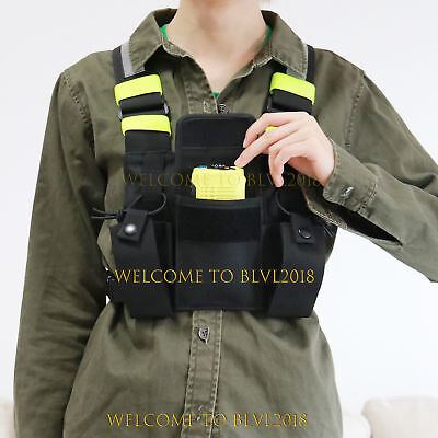 Radio Pocket Chest Harness Nylon Pack Pouch Holster Vest Rig For Walkie