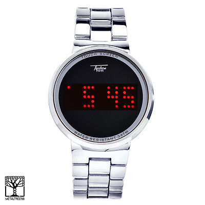 Touch Screen Digital Watches Techno Pave LED Metal Band WM 8164 S