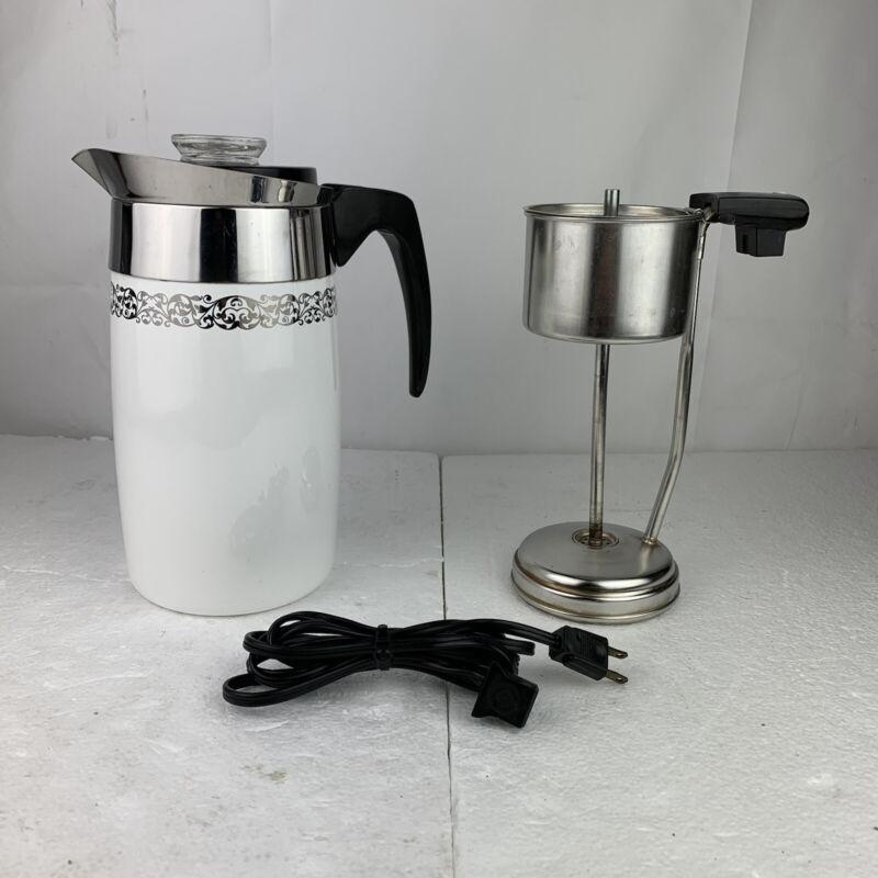 VintageCorning Ware 10 Cup Coffee Pot Blue Cornflower USA Made W/ Electric Cord
