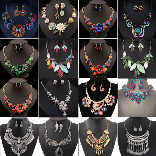 Necklace - Jewelry Sets Pendant Chain Crystal Choker Chunky Statement Bib Necklace Earrings
