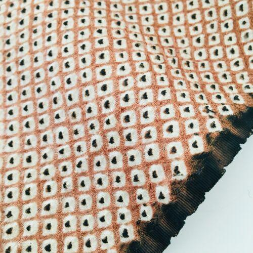 Shibori Cappucchino #B 14x63 LONG Vintage Silk Japanese Kimono Fabric SA33
