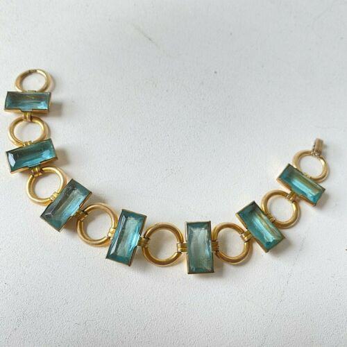 Vintage Art Deco Nouveau Aqua Turquoise Blue Faceted Glass Open Back Bracelet GF