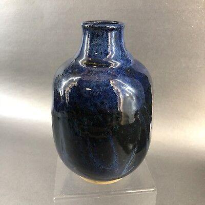 Vintage Ruth Porter British Columbia Canada Blue Studio Pottery Vase Handmade