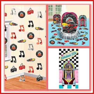 50's Party Decorations Wall Door Cover Table Decorating Kit Streamers Strings 50