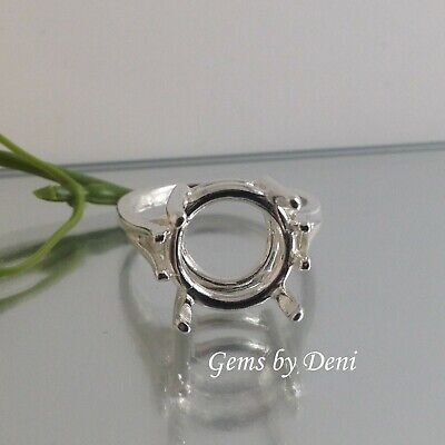 (9-15mm) Round Ladies Wire Mount Sterling Silver RESIZED Ring Setting (Size 4-9) 15mm Round Wire