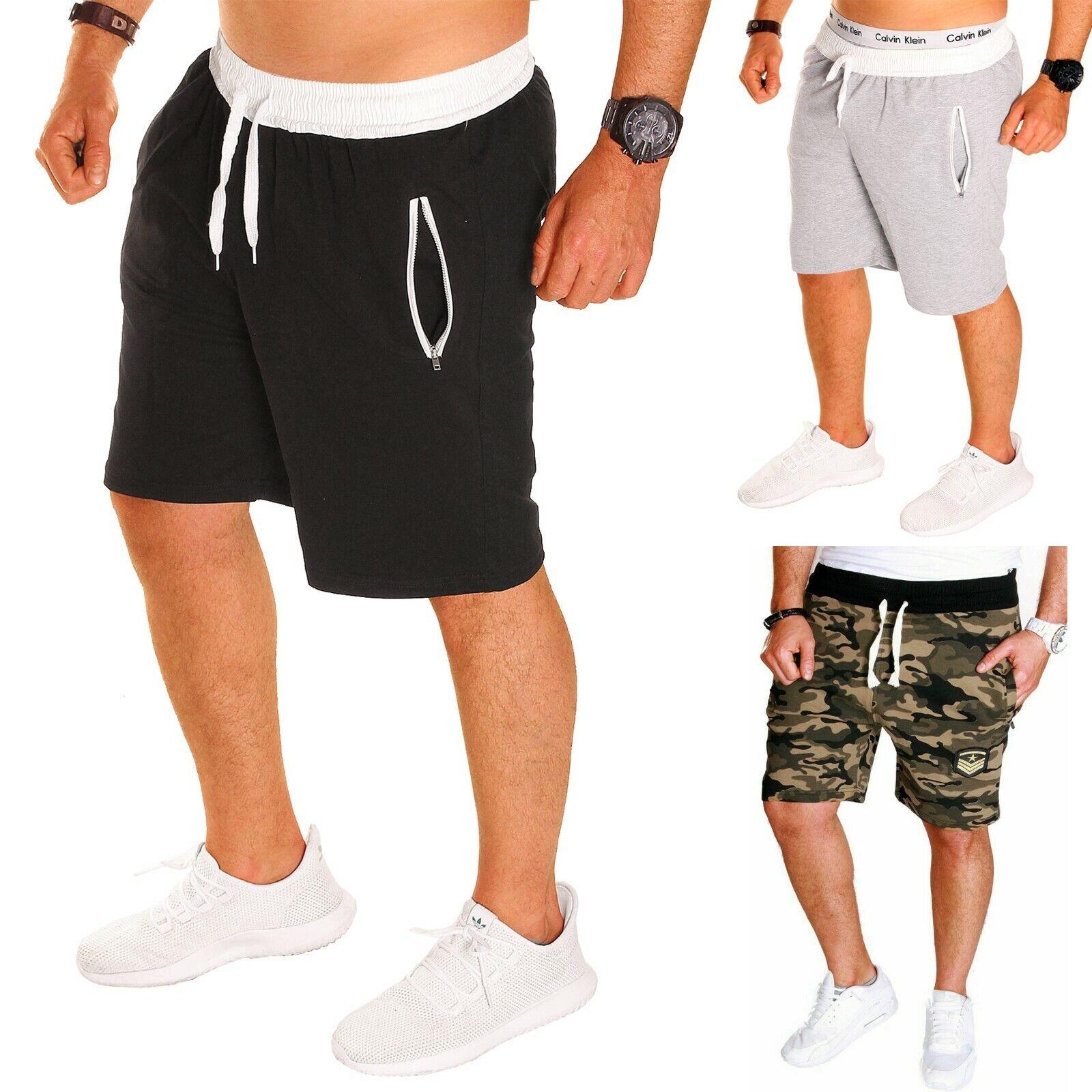 Herren Short shorts shorty sport Baumwolle Capri Hose kurz Sommer uni Neu B.333