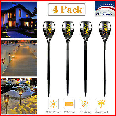 4 Pack Solar Torch Light Dancing Flickering Flame 96 LED Garden Lamp Waterproof