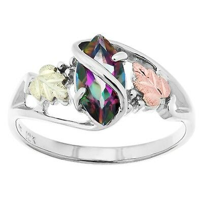 Black Hills Gold silver ring mystic fire topaz womens size 4 5 6 7 8 (Mystic Green Fire Topaz Solitaire)
