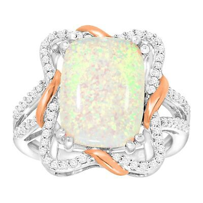 Created Opal & White Sapphire Ribbon Ring, 14K Rose Gold-Plated Sterling Silver 14k Gold Ribbon Ring