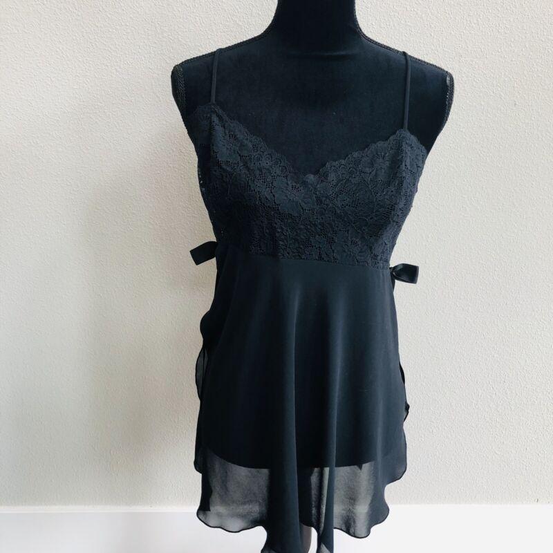 Victorias Secret Lingerie Nightie Black Size L Sheer Lace Bow Sexy