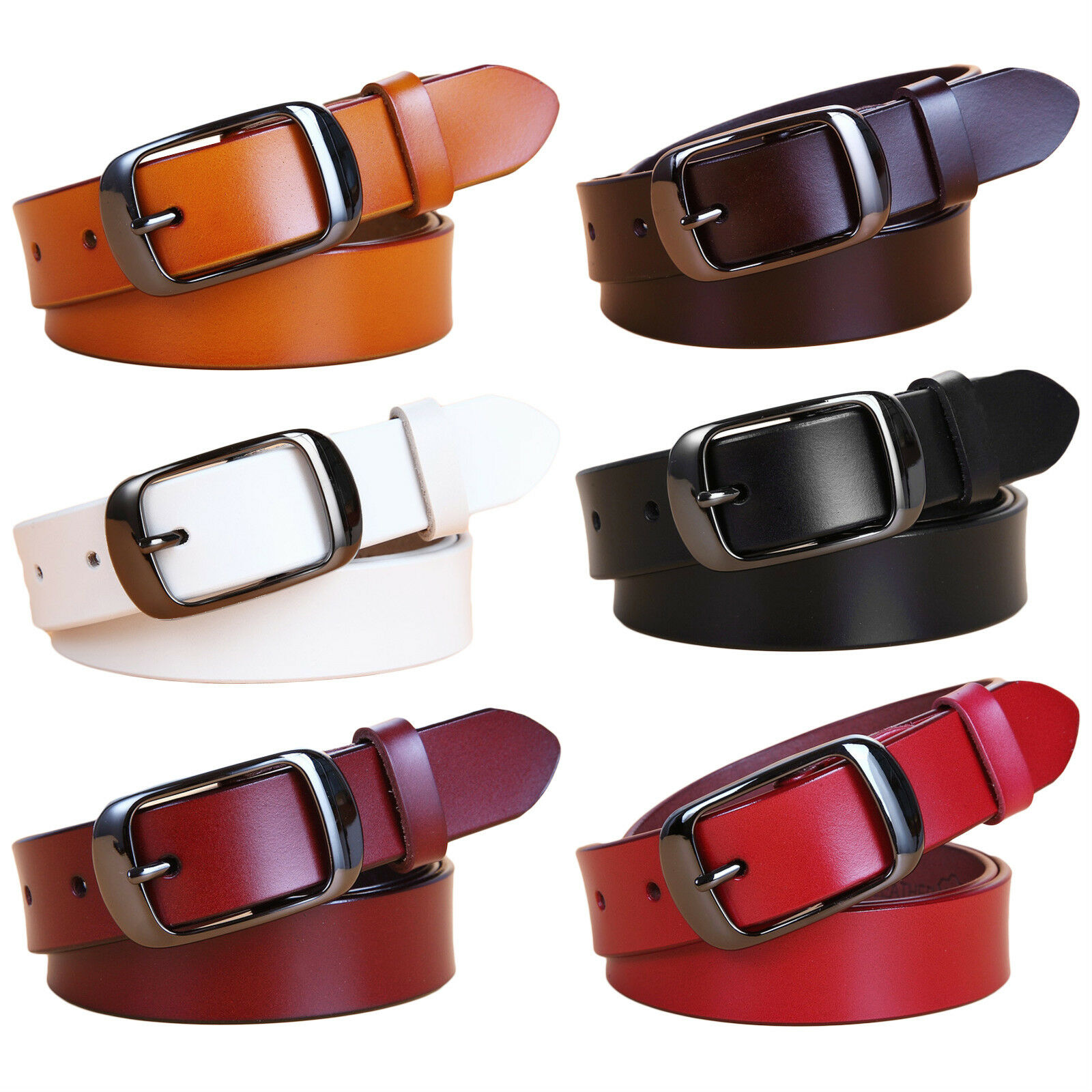 Women's Jean Belt, Classic Buckle Handcrafted Genuine Leather Belt Belts