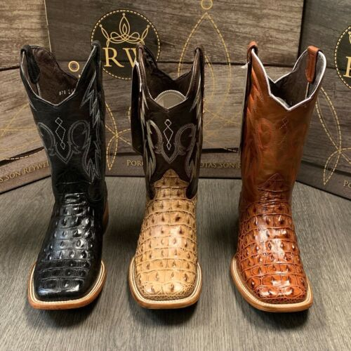 MENS, RODEO, COWBOY, ALLIGATOR, BACK, BOOTS, GENUINE, LEATHER, WESTERN, SQUARE, TOE, BOTAS