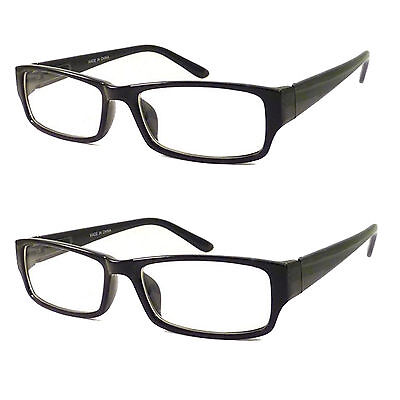 Plastic Nerd Glasses Bulk (2 PCS Small Black Rectangle Smart Interview Glasses Clear Lens Geek Nerd)