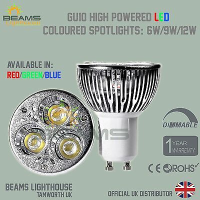 Dimmable GU10 6W 9W 12W RED/BLUE/GREEN/WARM/COOL White LED Colour Light Bulb