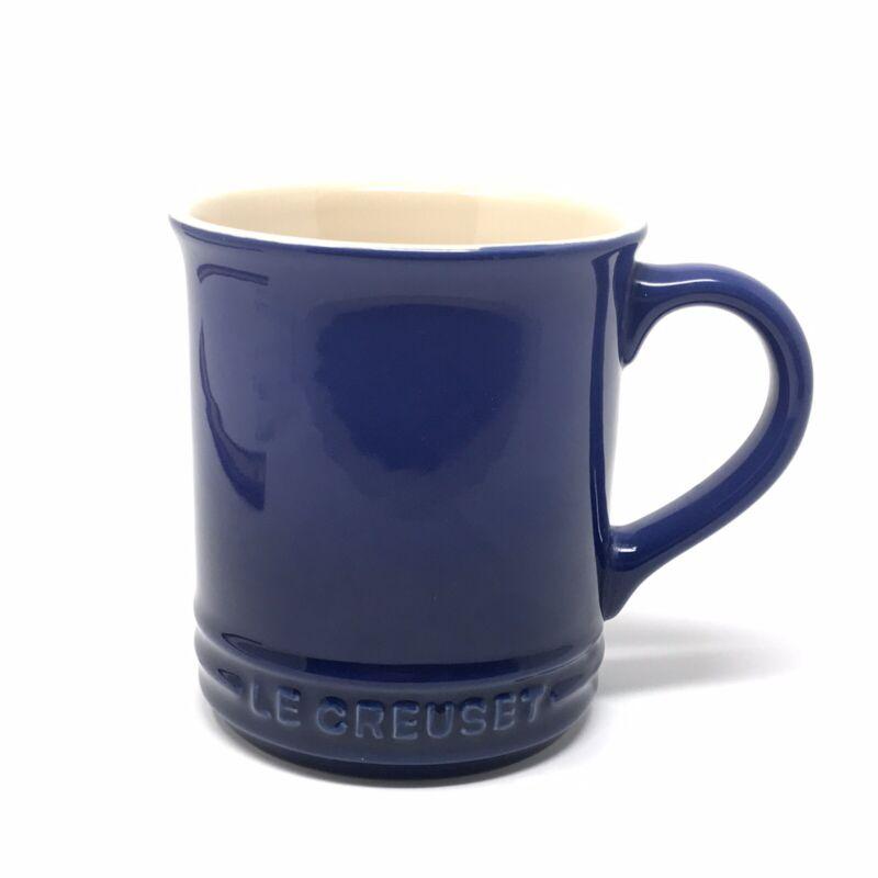 "LE CREUSET COBALT BLUE SPELLOUT LOGO COFFEE MUG 12OZ STANDS 4"" TALL"
