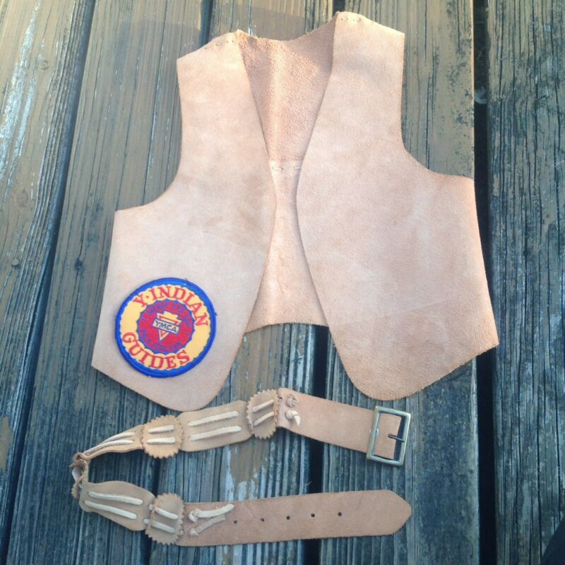 Vintage YMCA Y Indian Guides Brown Suede Leather Vest Red Yellow Patch Childs