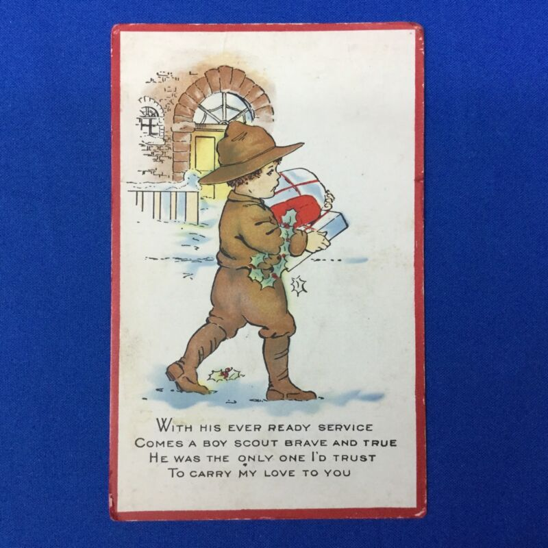 Boy Scout Vintage Christmas Post Card