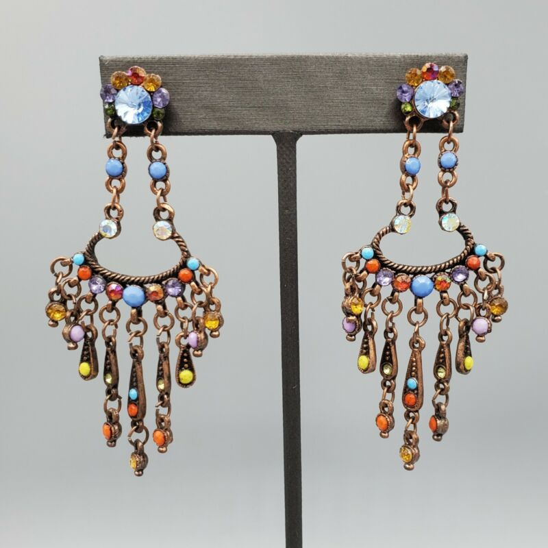 Unsigned Multi Color Crystal Bronze Tone Chandelier Post Earrings